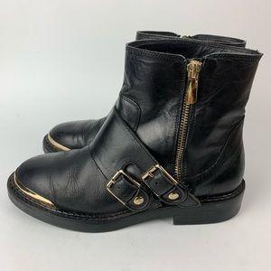 ZARA Black Leather Gold Toe Moto Boots